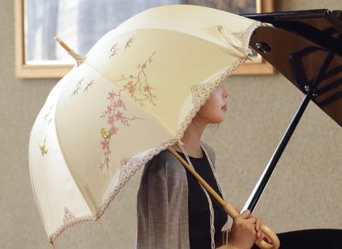 日傘の折りたたみ式遮光100%。